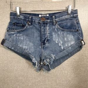 "One X One Teaspoon ""Bandit"" Denim Shorts"